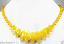 """Round&Square Beads Necklace 17"""" Aaa New Exquisite Natural Yellow Jade Gemstone"""