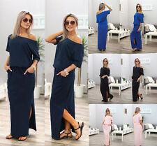 Women One Shoulder Party long Dress Clubwear Casual Side Slit Tunic Dress Summer