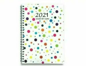 2021 A5 Week to View Diary Spiral Hardback Wiro Cover Planner WTV Office Work