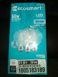 EcoSmart 60W Equiv. G25 LED Dimmable Vintage Style Light Bulbs In Daylight 3 Pk