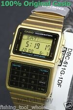 DBC-611G-1D Gold Casio Steel Watch DataBank Calculation Digital Vintage Alarm