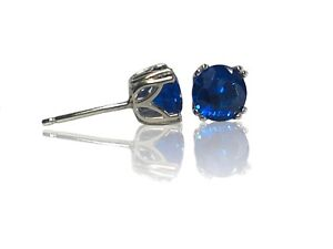 Sterling Silver Stud Earrings 8mm Round Sapphire Blue Spinel Gemstone Earrings