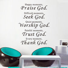 Bible Lettering Quotes Wall Stickers Decor Praise God Art Mural Removable Home