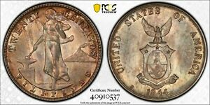 PCGS MS-65 PHILIPPINES SILVER 20 CENTAVOS 1944 -D (DEEP COLORFUL TONING!)