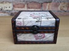 Vintage Style Wooden Trinket Jewellery Box Floral Postcard Design Theme Homeware