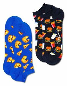 Happy Socks - 2er Pack - Low Sock, Sneaker - Pizza + Hamburger, Junk Food - blau