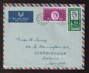 GB FDC 1961 sc#385-386 Commonwealth Parliamentary Conference, airmail to Canada