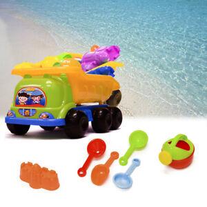 7Pcs Summer Beach Backyard Dump Truck Castle Molds Kids Sand Toys Playset Gift