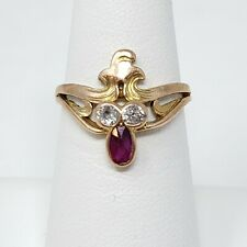 Vintage 14k Rose Gold Old European Cut Diamonds Synthetic Ruby Ring 2.9g Size 6