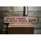 Beer Pong Played Here Vintage Distressed Sign, Personalized Wood Sign