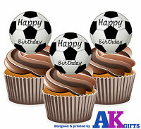 12 Black Footballs Happy Birthday Edible Wafer Cake Toppers Large 5cm Stand Ups