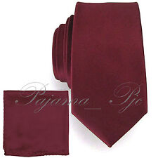 "3"" Men's Solid Necktie and Pocket Square Hanky Set Prom Wine Dark Burgundy"