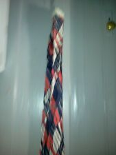 """Vintage Art Deco Red White Blue Scarf With Fringes 70 X 7"""" #881"""