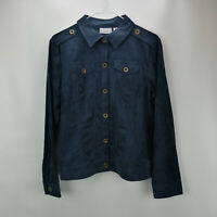 Joan Rivers Cropped Faux Suede Jacket Indigo M A280736