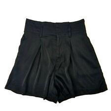 Gap 0 Cero Shorts High Waist Black Silky Shinny Culottes Flare Leg Casual Women