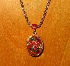 Russian FABERGE Gold Red ENAMEL green & Swarovsky Crystals flowers EGG pendant