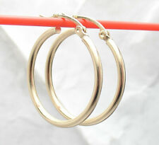 "7/8"" All Shiny Round Tube Hoop Earrings Real 10K Yellow Gold 2mm X 23mm"