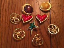9 Large Vintage 1970s Metal Buttons Art Gold  Tone w/ Enamel Hearts Stars Circle