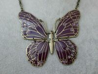 Amethyst Enamel & Rhinestone Large Butterfly Insect Pendant Costume Necklace