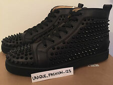 CHRISTIAN LOUBOUTIN LOUIS FLAT CALF SPIKES US 12 11 45 TRIPLE BLACK METAL