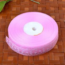 25mm Wide Flower Printed Sheer Organza Ribbon Embroidered Trim Party Sewing Bows