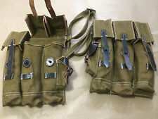 WWII German MP44 MP 44 Stg44 Magazine Pouch Set - JUTE n LEATHER