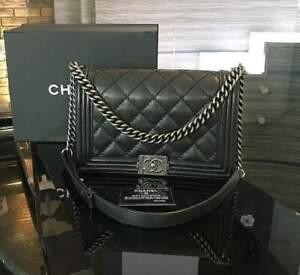 CHANEL QUILTED FLAP SO BLACK  OLD MEDIUM BOY Bag SHOULDER Calfskin Bag