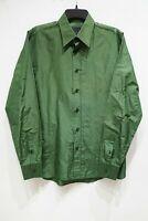 PRADA Men's long sleeve button up shirt plaid silk cotton blend green 39 15.5