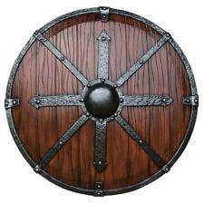 Epic Armoury Rundschild mit Eisenbändern 95cm Mittelalter LARP-Schild