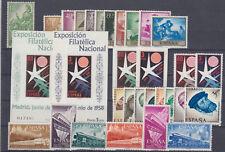 ESPAÑA - AÑO 1958 COMPLETO - SELLOS NUEVOS DE LUJO - INCLUYE SH BRUSELAS