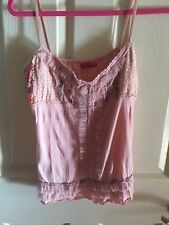 SUNNY SCARLET Vintage Boho Sexy Corset StyleTop Pink Lace Netting Frill Med
