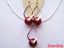 Costume Jewellery Red Pearl Silver 925 Set Necklace & Earrings CC30N