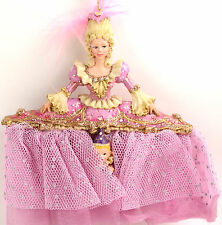 """Nutcracker Ballet Mother Ginger w/ Pink Feather 6"""" Resin Christmas Ornament New"""