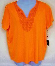Rafaella Plus Size Top shirt Blouse Vermillion Orange Expedition 2X 3X NEW
