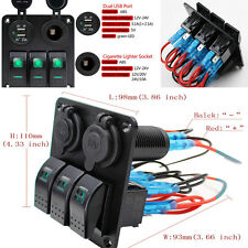 1xLED 3-Gang RV Car Marine Boat Rocker Switch Panel Circuit Breaker 12-24V 2-USB