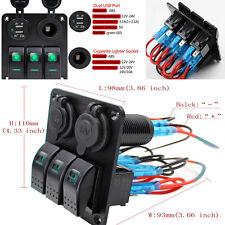 1xLED 3-Gang RV Car Marine Boat Rocker Switch Panel Circuit Breaker 12-24V 2-USB