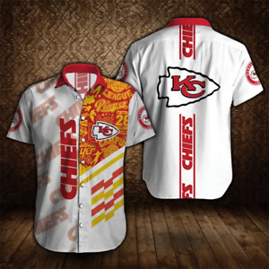 Kansas City Chiefs Football Shirts Men's Summer Short Sleeve Button Down T-Shirt