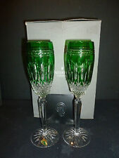 WATERFORD CRYSTAL CLARENDON EMERALD CHAMPAGNE FLUTES X2 BOXED NEW UNUSED