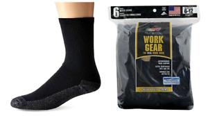 """FRUIT OF THE LOOM Men's """"Work Gear"""" Socks, Blk, Large, 6 pair pack $16.99"""