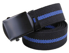 "Thin Blue Line Police Web Belt 1-1/4"" Cotton Web Belt w/ Black Buckle 54"" Long"