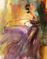 ZWPT967 100% hand painted dancing girl portrait oil painting art on Canvas