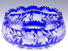 "Bohemian Czech COBALT BLUE CUT TO CLEAR CRYSTAL ROSES 8"" BOWL CENTERPIECE Mint"