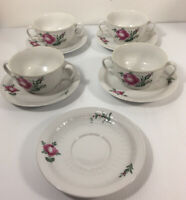 Seltmann Bavaria Weiden Rose W. Germany Dinnerware Soup Bowls and Underplates