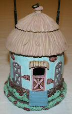 Combination Bird Feeder/Bird House: Ceramic Rustic Cottage with Thatched Roof