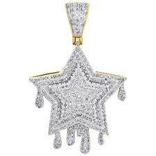 "10K Yellow Gold Double Tier Diamond Star Drip Pendant 1.40"" Pave Charm 0.68 CT."