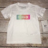 Hurley 2T 3T 4T Rainbow Logo White Short Sleeve Shirt NEW