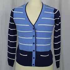 Orvis Blue Stripe Button Cardigan 100% Cotton Sweater Men Sz Small S EUC