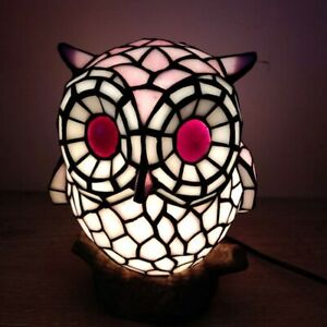 Tiffany Style Stained Glass Pink Owl Table Lamp Night Lighting Children's Gifts