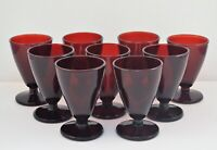 VINTAGE SET OF 9 RUBY RED CORDIALS SHERRY GLASSES