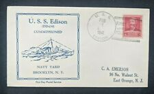 1941 USS Edison Destroyer Commissioned US Navy FDC Cover to East Orange NJ